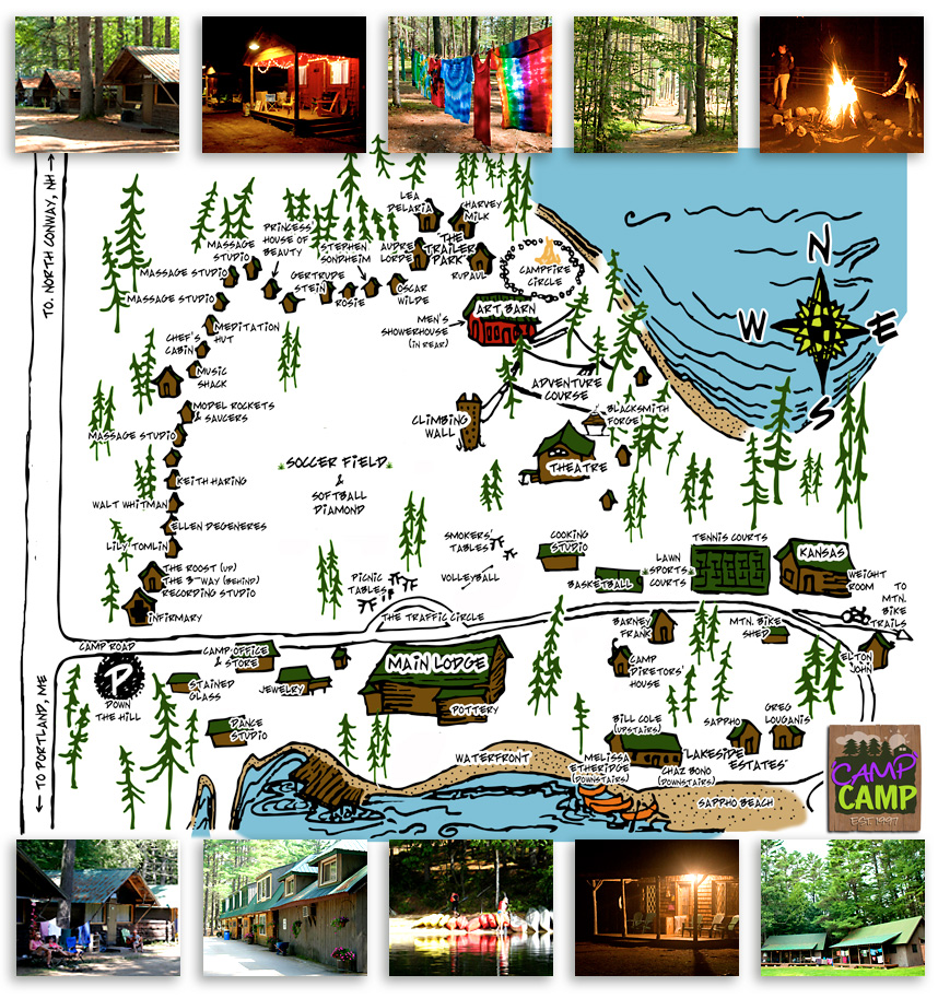 A map of 'Camp' Camp, America's premier all-inclusive outdoor vacation for LGBT adults