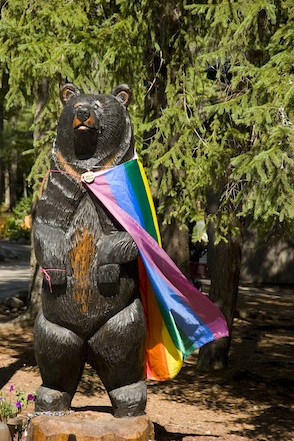 A gay bear greets Campers at Camp Camp, a GLBT summer camp experience for GLBT adults