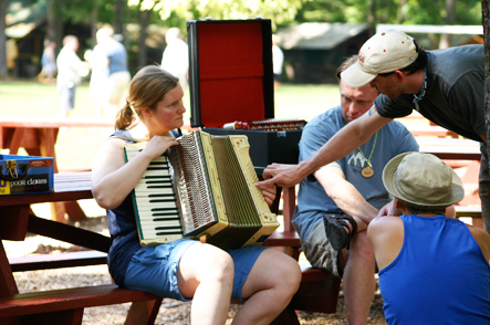 Impromptu Music Lessons at Camp Camp, a summer camp vacation for GLBT adults in gorgeous Maine