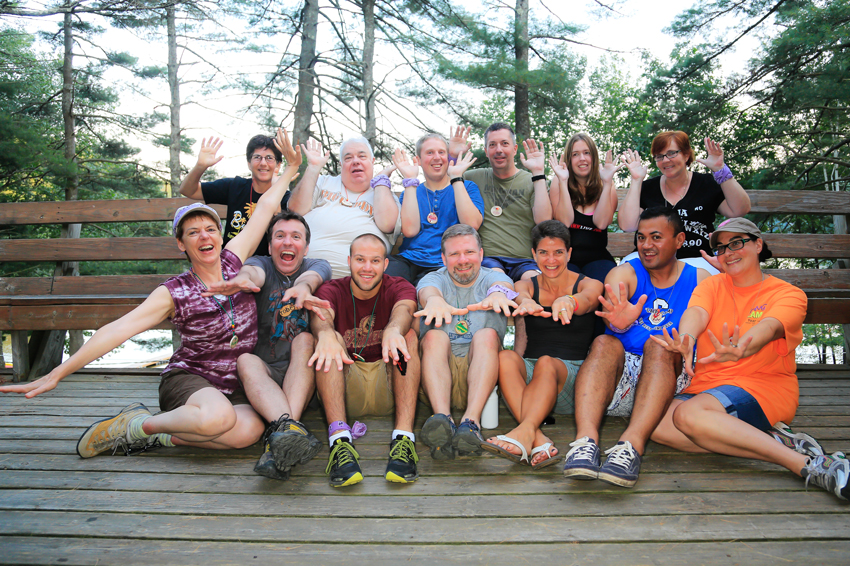 2013 Lavender Rainbow Group at 'Camp' Camp, a summer camp vacation for GLBT adults in Maine