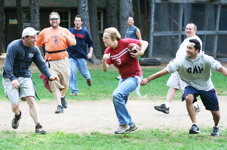 Flag Football at Camp Camp, a summer camp vacation experience for the GLBT community