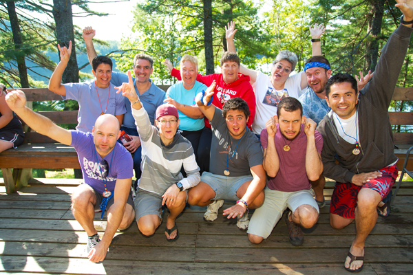 2012 Royal Blue Rainbow Group at 'Camp' Camp, a summer camp vacation for GLBT adults in Maine
