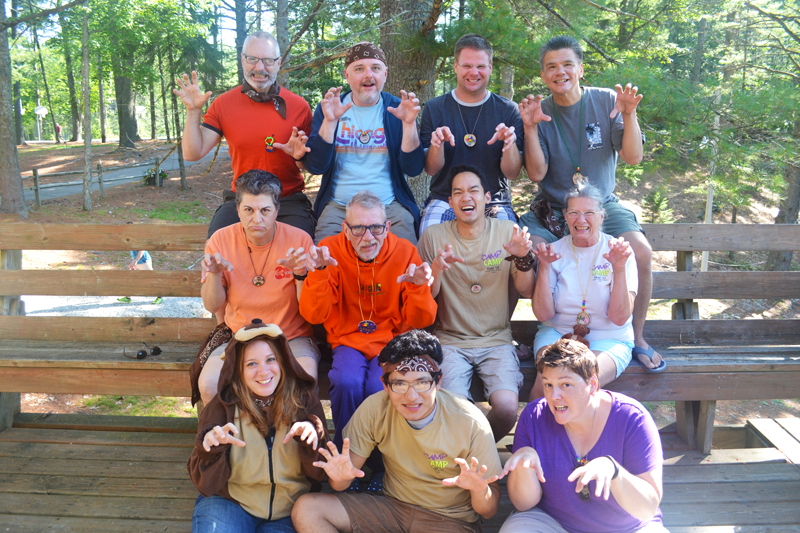 2014 Brown Rainbow Group at 'Camp' Camp, a summer camp vacation for LGBT adults in Maine