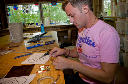 Stained glass classes at Camp Camp, America's premier summer camp for GLBT adults in beautiful Maine